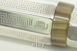 Authentic Montegrappa Eleganza Vintage '99 Fountain Pen 925 Silver Resin Greek 9p9066