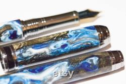 Beaufort Mistral Rollerball and Fountain Pen Set in Custom Acrylic and Black Cholla