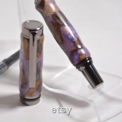 Beautiful Resin and Maple Burl Fountain Pen with Ink Converter
