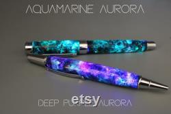Blue Meteorite Galaxy, Authentic elements, Moldavite, Premium hand-made parts, Fountain pen, Rollerball, Aurora Nebula glow, 23k Gold Nib