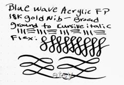 Blue Wave Acrylic Fountain Pen 18K Gold Nib Broad Stub