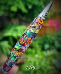 Cosmic Space Pen, Galaxy Art, Real Meteorite, Moldavite, Opal, Premium hand-made , Aurora Nebula, crystal glow, Gold, Chrome, Ballpoint
