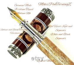 Custom Wooden Fountain Pen Quilted Maple Bloodwood Knot White and Black Segments Rhodium and Black Titanium hardware 713FPXLB