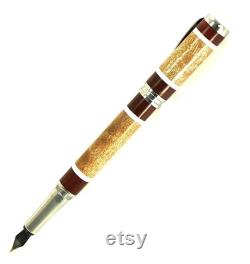 Custom Wooden Fountain Pen Quilted Maple with Red Heart and White Segments Made in USA Stainless Steel Hardware Stock 702FPSSA