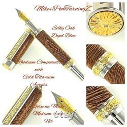 Custom Wooden Fountain Pen Silky Oak Dyed Blue Rhodium and Gold Titanium Hardware Stock 754FPF