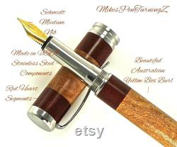 Custom Wooden Fountain Pen Yellow Box Burl with Red Heart Segments Made In USA Stainless Steel Hardware Stock 699FPSSF
