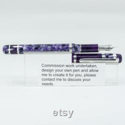 Custom made Fountain Pen Diamond Cast Silver Series