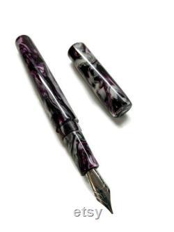 Deep Purple, White, Silver DiamondCast Custom Bespoke Kitless Fountain Pen, Acadia Model