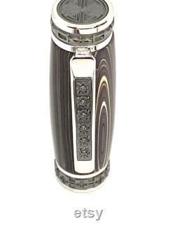 Emperor Convertible Rhodium and Black Titanium Fountain Pen Corvette Fordite
