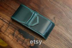 Fountain Pen Case from Italian Shell Cordovan leather in Deep Green colour Luxury Pen Case Exclusive Waterman Parker Hard leather case