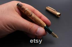 Fountain Pen Olive Wood and Shades of Green Made in Italy