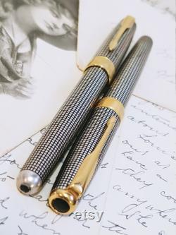 Fountain Pen Set Vintage Parker Sonnet Cicelé 18K 750 Gold NIB and Sterling Silver Body Parker Sonnet France IIN