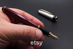Fountain Pen Sterling Silver Bordeaux Lacquer Handmade in Italy Different Nib Sizes