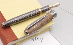 Fountain Pen Sterling Silver Sustainable Genuine Leather Handmade in Italy Golden Brown