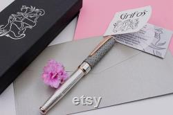 Fountain Pen Sterling Silver Sustainable Genuine Leather Handmade in Italy Grey and Rose