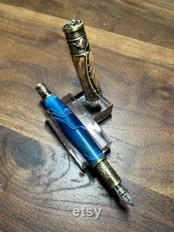 Fountain Pen in Antique Brass with Fly Fishing Motif