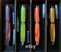Fountain pen, Finest Polished Birch Wood Omega, Honey, Green and Grey Hand made refillable, Gift Box Accessories