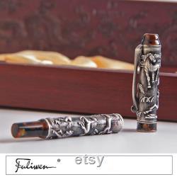 Fuliwen 806 14K Gold Nib Fountain Pen Eight Horse Medium Point with Wood Gift Box