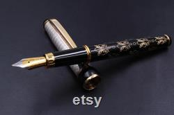 Golden Lily Flower Fountain Pen Sterling Silver Cap Handmade in Italy