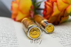 Handcrafted 22k Gold-plated Swarovski Fountain Pen, Personalized Pen, Hand Turned Pen, Handmade Wooden Pen, Luxury Gift, Executive Pen
