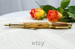 Handcrafted Bethlehem Olive Wood Fountain Pen, 24k plated, Hand Turned Pen, Handmade Wooden Pen, Gold Fountain Pen, Unique Pen, Wood Gift