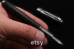 Handcrafted Fountain Pen Ancient Bog Oak 5000 Years Old Silver 925 Italy