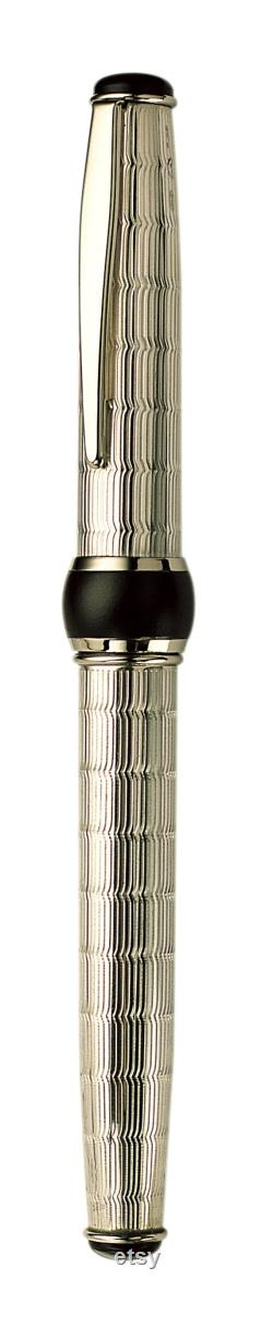 Handmade Fountain Pen Sterling Silver 925 Italian Pen with Romantic Chevron Guillochè Design Personalized Pen