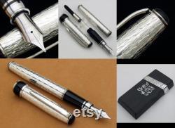 Handmade Fountain Pen Sterling Silver Original Italian Guillochè Design