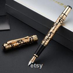 Hero 14K Gold Century Dragon Embossed Fountain Pen, Noble Carving Writing Pen with Gift Box