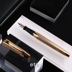 Hero 2191 14K Gold Fountain Pen Case, Medium Nib Solid Brass Gold Plated Signature Pen, Business Gift Rollerball Pen Nib and Black Refill