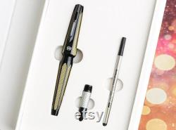 Hero H712 10K Gold Fountain Pen, Fine Nib and Rollerball Pen Nib Writing Pen,Hexagon Metal Noble Business Pen with Gift Box