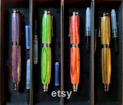 Indian Black Ebony Prestige Solid Wood Fountain Pen, Custom Made, Gift Box, Converter Kit included