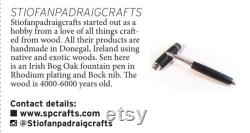 Irish bog oak custom fountain pen in rhodium fittings, fitted with a Bock nib.