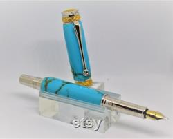 Majestic Junior Fountain pen, plated with 22Kt Gold and Rhodium, made with Turquoise and Gold Matrix TruStone material