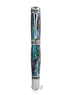 Mens Pen Pitchman s Tycoon Fountain Pen Blue Abalone and Swarovski Crystal Luxury Pen Perfect Corporate Gift Pitchman
