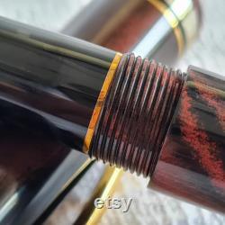N6CI Nikko Ebonite (Mottle Red Black) Handmade Fountain Pen