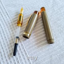 N6CI Nikko Ebonite and Amber PEI Handmade Fountain Pen