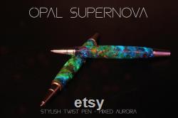 Opal Supernova Galaxy Pen, Real Meteorite, Moldavite, Multi Opal, Premium hand-made , Aurora Nebula, crystal glow, Gold, Chrome, Ballpoint