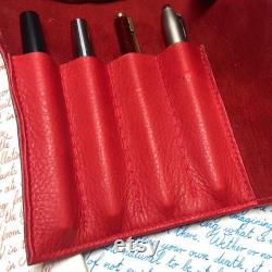 Pen Roll, leather pen roll, leather pen storage, leather pen holder, fountain pen roll, pen case, black and red, garny