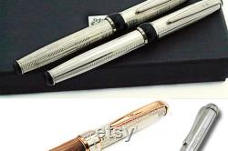 Personalized Fountain Pen Sterling Silver Italian Olive Wood. Handmade in Italy