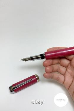 Pink custom fountain pen, Personalized engraved pen, Heavy handmade resin ink pen