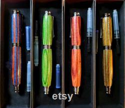 Prestige Glass Finish Wood Omega Ceramic Roller Pen Bluebell Hand made Multi Layered refillable