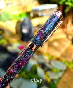 Purple Opal and Rose Gold Galaxy, Real Meteorite, Moldavite, Premium hand-made ,Fountain Pen Aurora Nebula, crystal glow, 23k Gold Nib