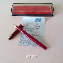 Rare PARKER Duofold 17 Open Nib Beak England Red Fountain Pen 1960s 14k Gold Nib Original Case