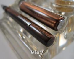 Restored Esterbrook Dollar Fountain Pen Brown Pearl A-size with NOS 9550 Extra Fine Nib Vintage 1940's