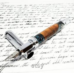 Satin Vertex Fountain Pen With Magnetic Cap and Hybrid Cedar Wood and Resin Barrel, Perfect Handmade Valentine Gift for Her Him