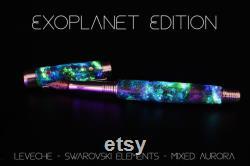 Space Fountain Pen, Galaxy Art, Real Meteorite, Moldavite, Opal, Premium hand-made , Rollerball, Aurora Nebula, crystal glow, 23k Gold Nib