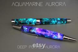 Stylish Space Pen, Galaxy Art, Real Meteorite, Moldavite, Opal, Premium hand-made , Aurora Nebula, crystal glow, Gold, Chrome, Ballpoint