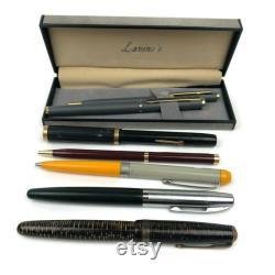 VTG Lot of 7 Fountain Ballpoint Pens Lavino's Parker Vacumatic Striped Antique