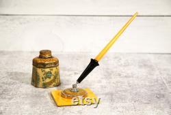 Vintage 1930s Butterscotch Bakelite Fountain Dip Pen Holder, Desk Set, Bakelite Pen with Baff 14K Gold Plate Tip, Art Deco Office Decor